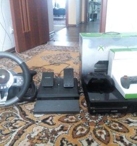 Xbox ONE+игровой руль defender+6 игр