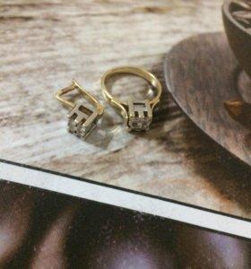 Бриллиантовый комплект,серьги и кольцо