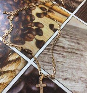 Цепочка с крестиком (камни бриллианты)