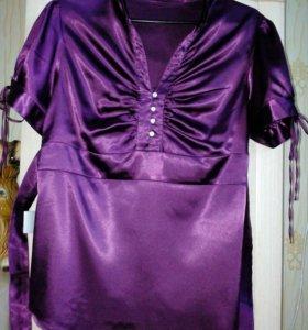 Блузка атласная фиолетовая