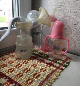 Молокоотсос AVENT и бутылочки