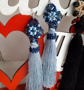 Серьги-кисти сине-голубые