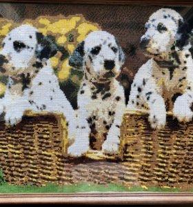 Вышивка- Картина «Три далматинца»