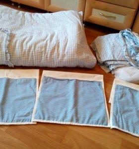 Постельный комплект на детскую кроватку.