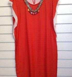 Платье красное свободного кроя