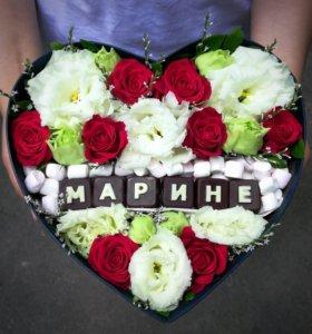 Цветы в коробке с конфетами с доставкой