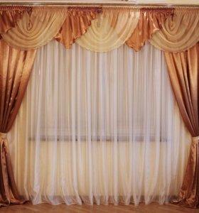Комплекты готовых комнатных занавесок со шторами