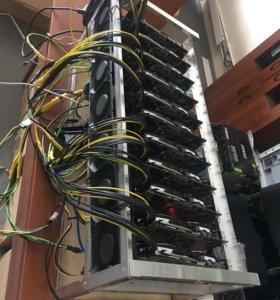 Ферма для майнинга 11 видеокарт MSI RX 580 8Gb