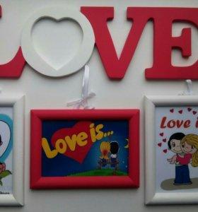 В наличии слово LOVE и три рамочки