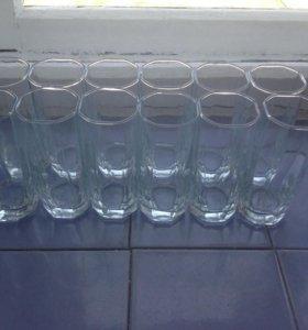12 стеклянных граненых стаканов