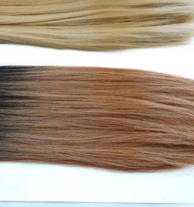 Волосы на заколках Омбре