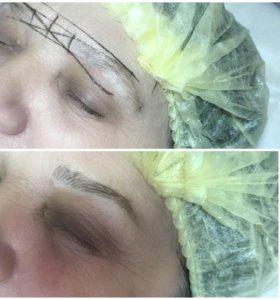 Микроблейдинг бровей-волосковая техника