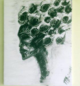 Авторская картина маслом « Инопланетянка»