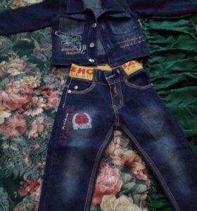 Джинс.пиджак и джинсы для мальчика возраст 3-4 год