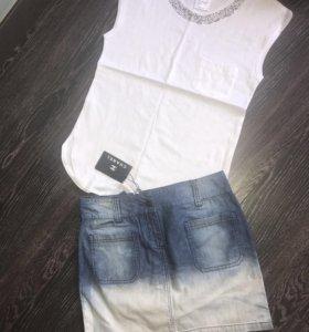 Chanel футболка и юбка джинса.Новые.Топ качество