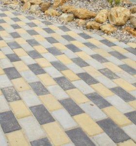 Тротуарная плитка Кирпич 20х10см, цветная