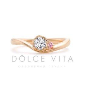 Кольцо золотое помолвочное с бриллиантом