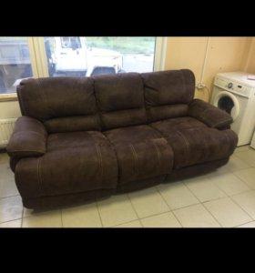 Раскладной диван замшевый