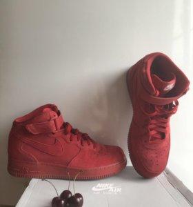 Nike Air Force one кроссовки красные кеды