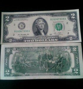 """2 Доллара """" На Удачу"""" 2013г."""