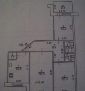 Квартира, 3 комнаты, 66.9 м²