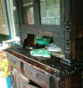 Буфет шкаф   антикварный под реставрацию