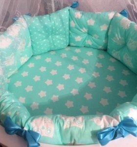 Бортики-подушки + простынь на резинке в подарок