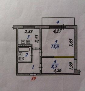 Квартира, 2 комнаты, 39.9 м²