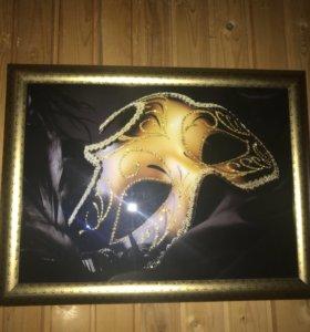 Картины стразами триплекс Венецианские маски