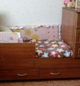 Кровать трансформер комплект пост.белья в подарок