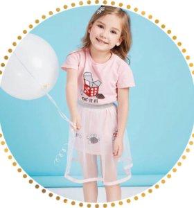 Комплект для девочки (юбка+футболка) 100,120