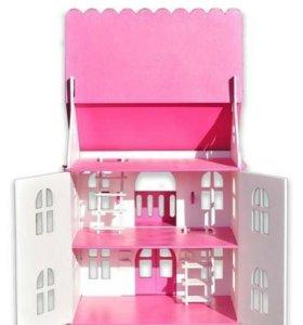 """Новый розовый кукольный домик """"Арина"""""""