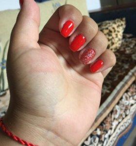 Покрытие ногтей шеллаком,наращивание