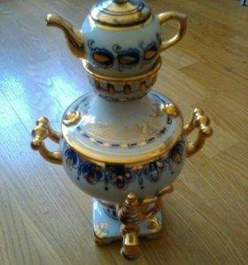 Самовар декоративный керамический Гжель