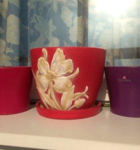 Горшок, кашпо для цветов керамика (набор)
