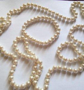 Бусы длинные и браслеты (белый жемчуг)
