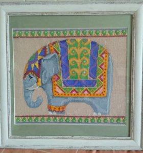 """Вышитая картина """"индийский слон"""""""