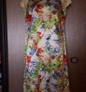Платье желтое/разноцветное 44-46 рр 1000 руб