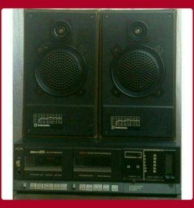 Магнитофон стерео Нота 220с с колонками, рабочий