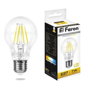 Лампа светодиодная LED 7вт Е27 теплый филаментная