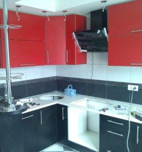 Кухня Красно-Черная с Барной Стойкой