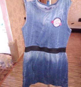 Джинсовый сарафан и юбка, для девочек 12-14 лет