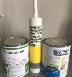 Белая краска и герметик