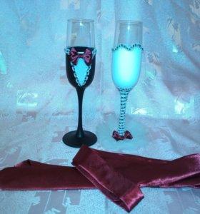Набор свадебные бокалы и галстук новый