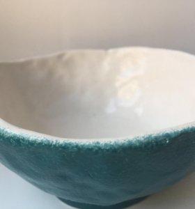 Рукодельная керамическая миска