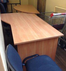 Офисный стол на 2 места раб., тележка,стеллажи