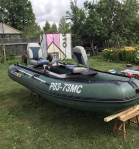 Лодка  с мотором. Solar 380+mercury 15