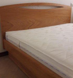 Кровать Юма, массив, шпон Дуба, с матрасом