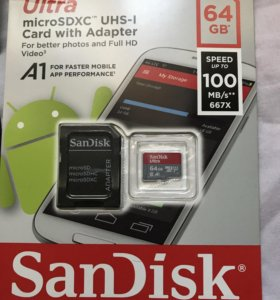 Флеш карта microSD sandisk 64gb 100mb/s