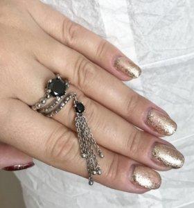 Кольцо серебро 925 безразмерное с цепочками